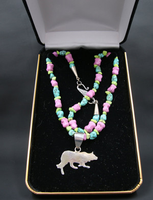 Beaded Sterling Silver Border Collie Necklace