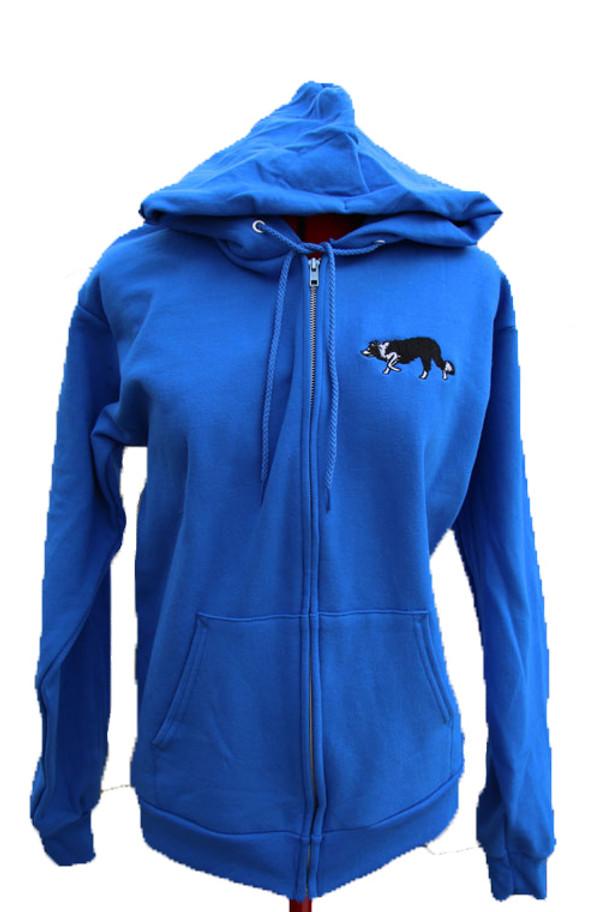 Blue Full Zip Hoodie with Border Collie