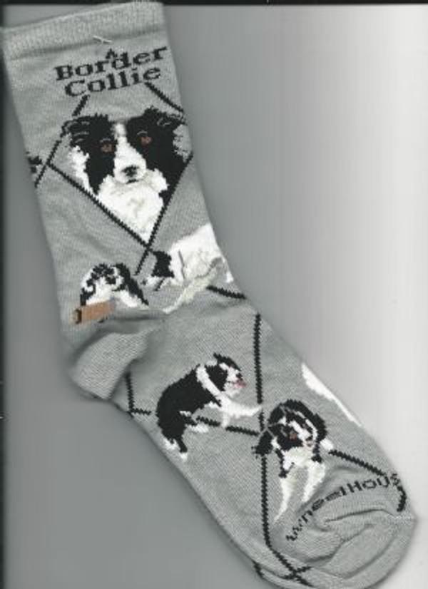 Border Collie Socks - Gray