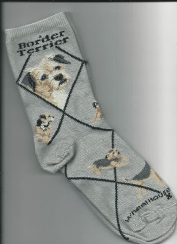 Border Terrier Socks - Gray