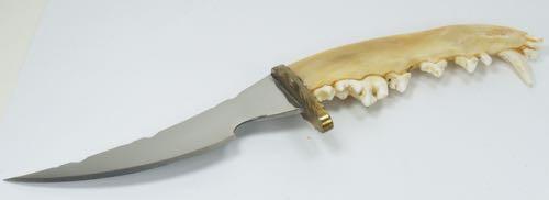 DCS Bob Schoop Custom Knife Wolf Jaw Bone Handle