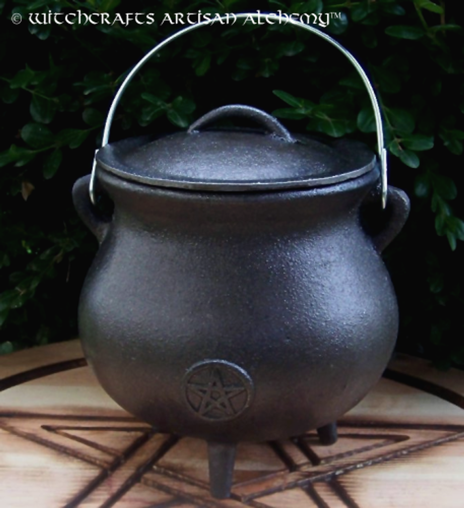 Jumbo Cast Iron Wide Mouth Pot Belly Pentacle Cauldron w/ Lid