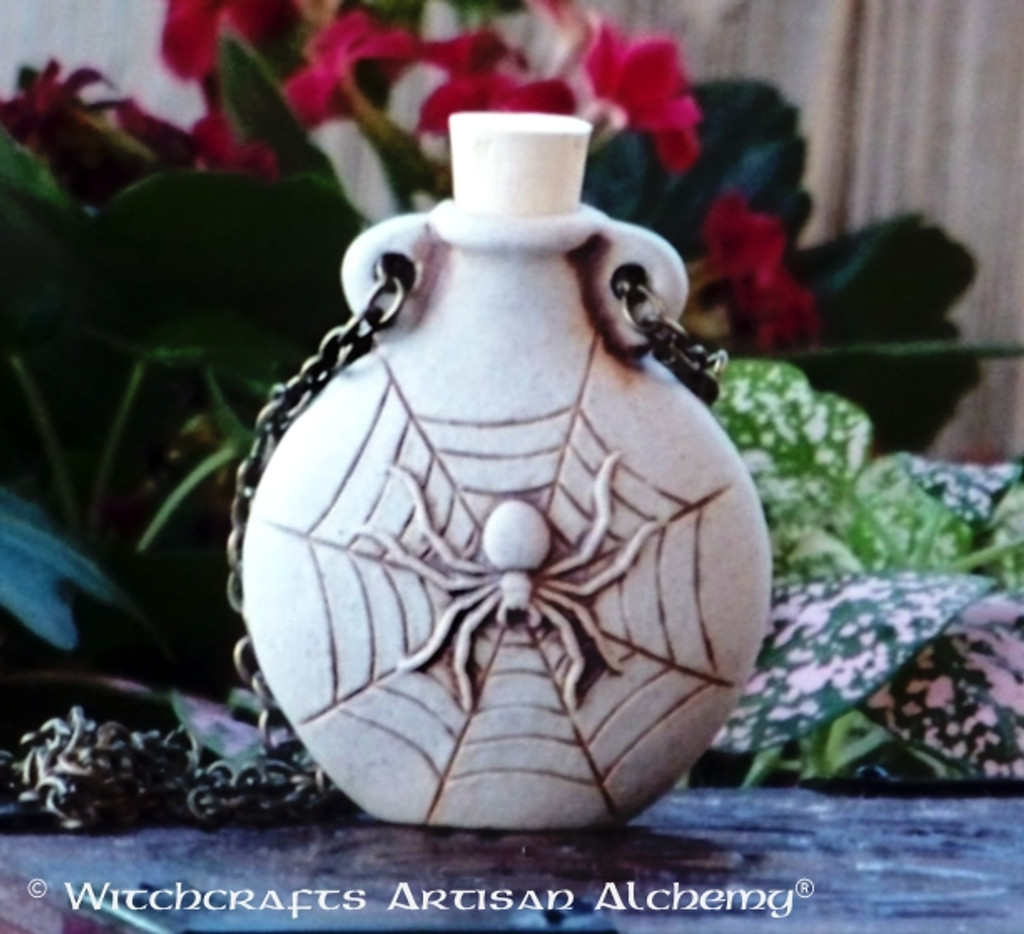 SPIDER Clay Bead Pendant Oil Bottle Necklace