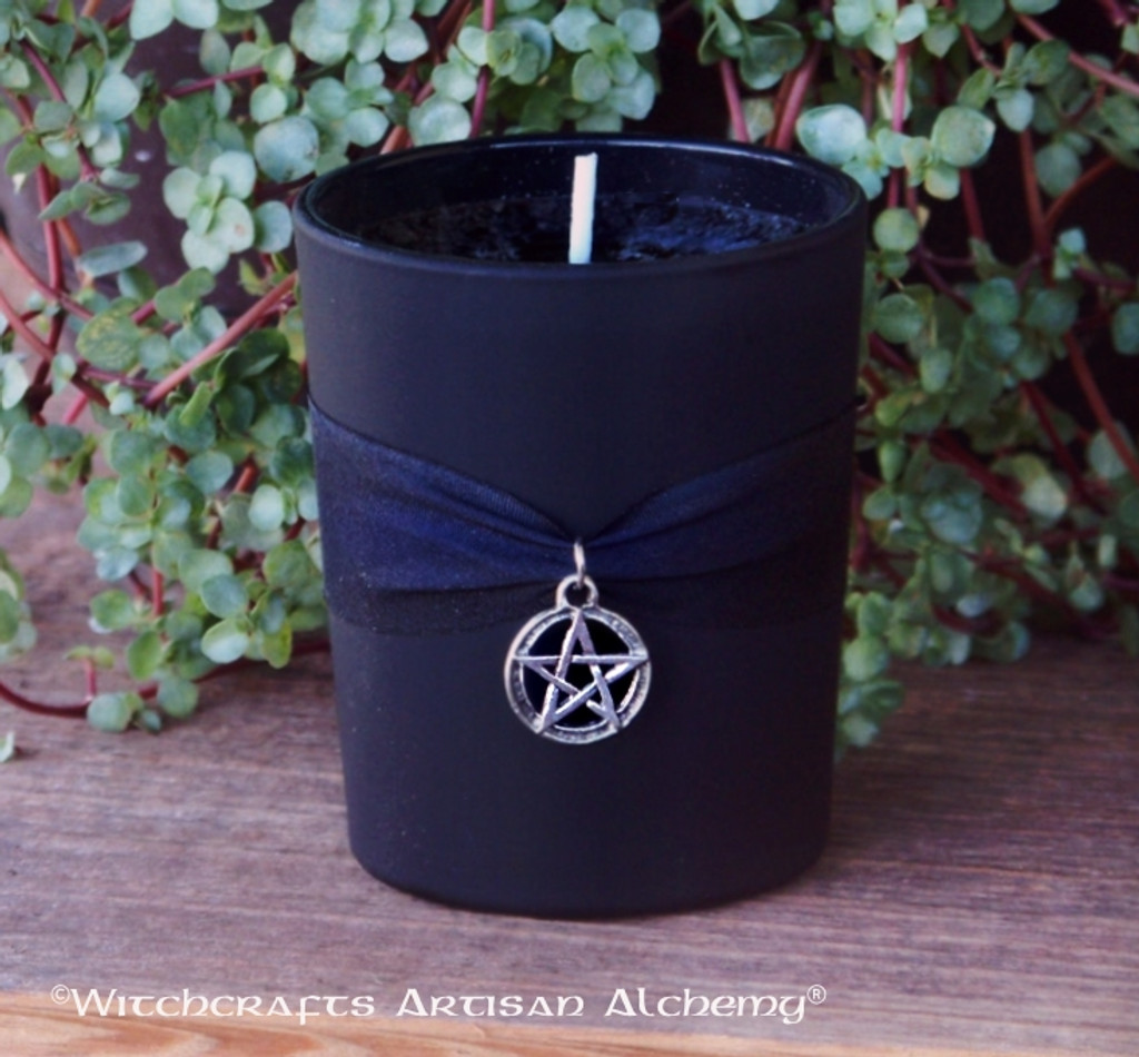 BLACK CAULDRON BREW Signature Scent Frosted Black Glass Votive Container Candle