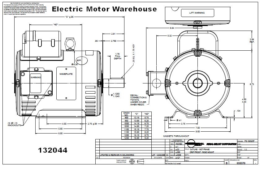 75 hp 3450 RPM 184T Frame 208230V Open Drip Leeson Electric – Leeson Motor Wiring Diagram