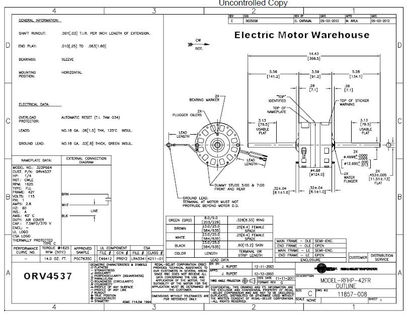 ORV4537_dim__57530.1435070663.1280.1280?c=2 1 4 hp 115 volt 1625 rpm 1 speed coleman (6747a311) rv air 2 Speed Motor Wiring Diagram at aneh.co