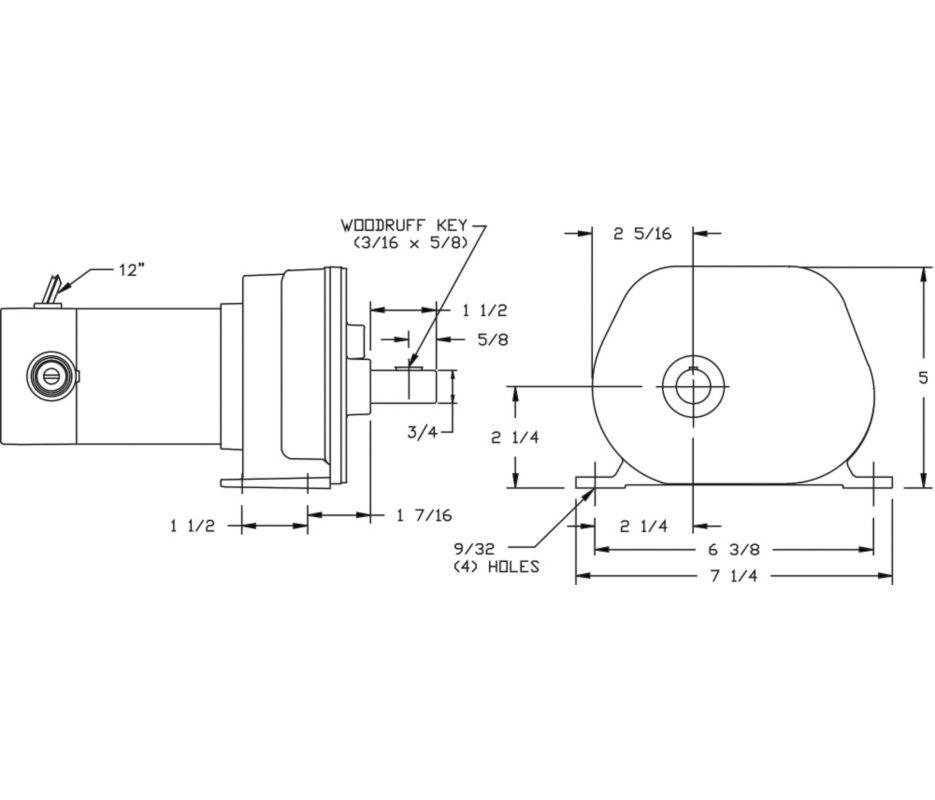 Dayton Model 1lpl1 Dc Gear Motor 65 Rpm 115 Hp 90vdc 4z530