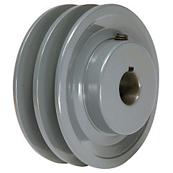 "4.45"" X 1"" Double Groove AK Fixed Bore Pulley # 2AK46X1"
