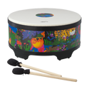"Remo Drum, KIDS PERCUSSION¨, Gathering Drum, 16"" Diameter, 8"" Height, COMFORT SOUND TECHNOLOGY¨ Head, Fabric Rain Forest"