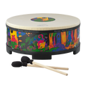 "Remo Drum, KIDS PERCUSSION¨, Gathering Drum, 18"" Diameter, 8"" Height, COMFORT SOUND TECHNOLOGY¨ Head, Fabric Rain Forest"