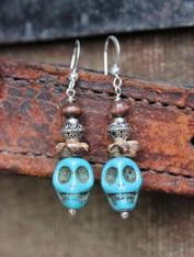 Turquoise Skull Bohemian Earrings