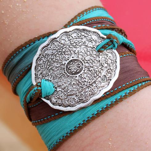 Mehndi Silk Ribbon Wrap Bracelet