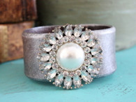 Silver Flower Leather Cuff