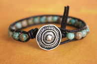Turquoise Boho Leather Wrap Bracelet - Stackable