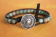 Turquoise Boho Leather Wrap Bracelet - Stackable
