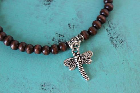 Dragonfly Stretch Bracelet Wood Beads