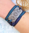 Baroque Motif Silk Ribbon Wrap Bracelet
