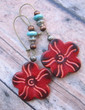 Boho Flower Leather Earrings