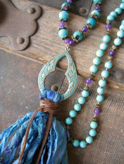 "Long Bohemian Tassel Necklace ""Peacock"""