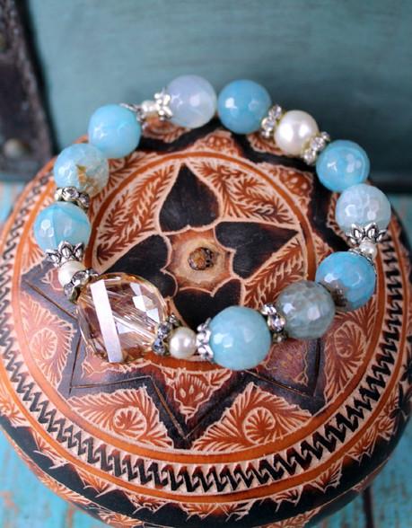Blue Agate Luxury Stretch Bracelet