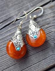 Orange Drop Bohemian Earrings