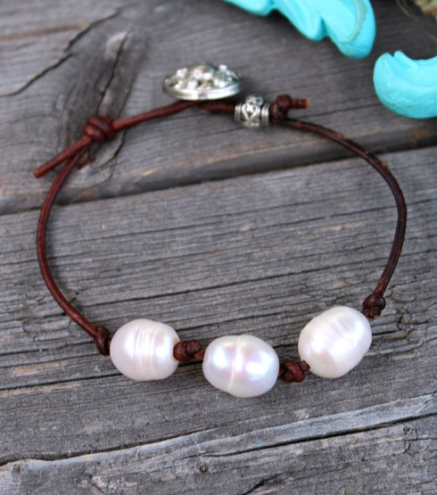 Knotted Leather Pearl Bracelet
