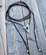 Leather Heart Wrap Lariat Necklace