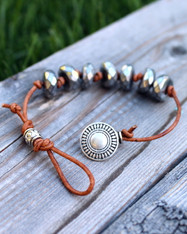 Knotted Leather Hematite Bracelet