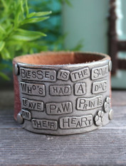 Paw Print Leather Cuff