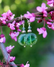 Raindrop Earrings - Green Czech Glass