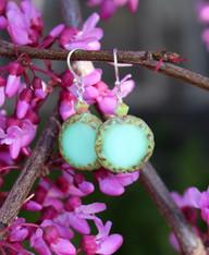 Raindrop Earrings - Mint Green Czech Glass