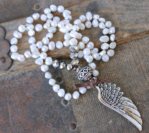 Long White Pearl Angel Wing Knotted Bohemian Necklace