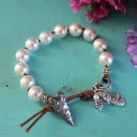 White Pearl Bohemian Knotted Bracelet