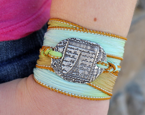 Eiffel Tower Silk Ribbon Wrap Bracelet