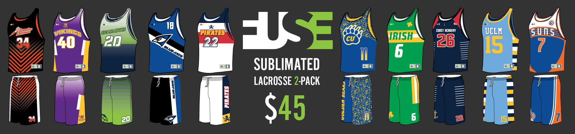 Custom sublimated lacrosse reversible and short pack