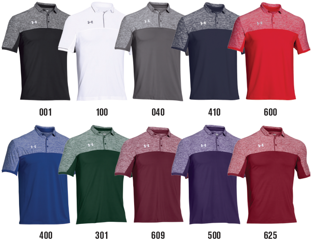 Under armour team podium custom polo shirts elevation sports for Under armor business shirts