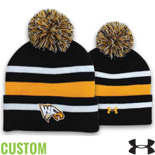 Under Armour Custom Striped Beanie with Pom