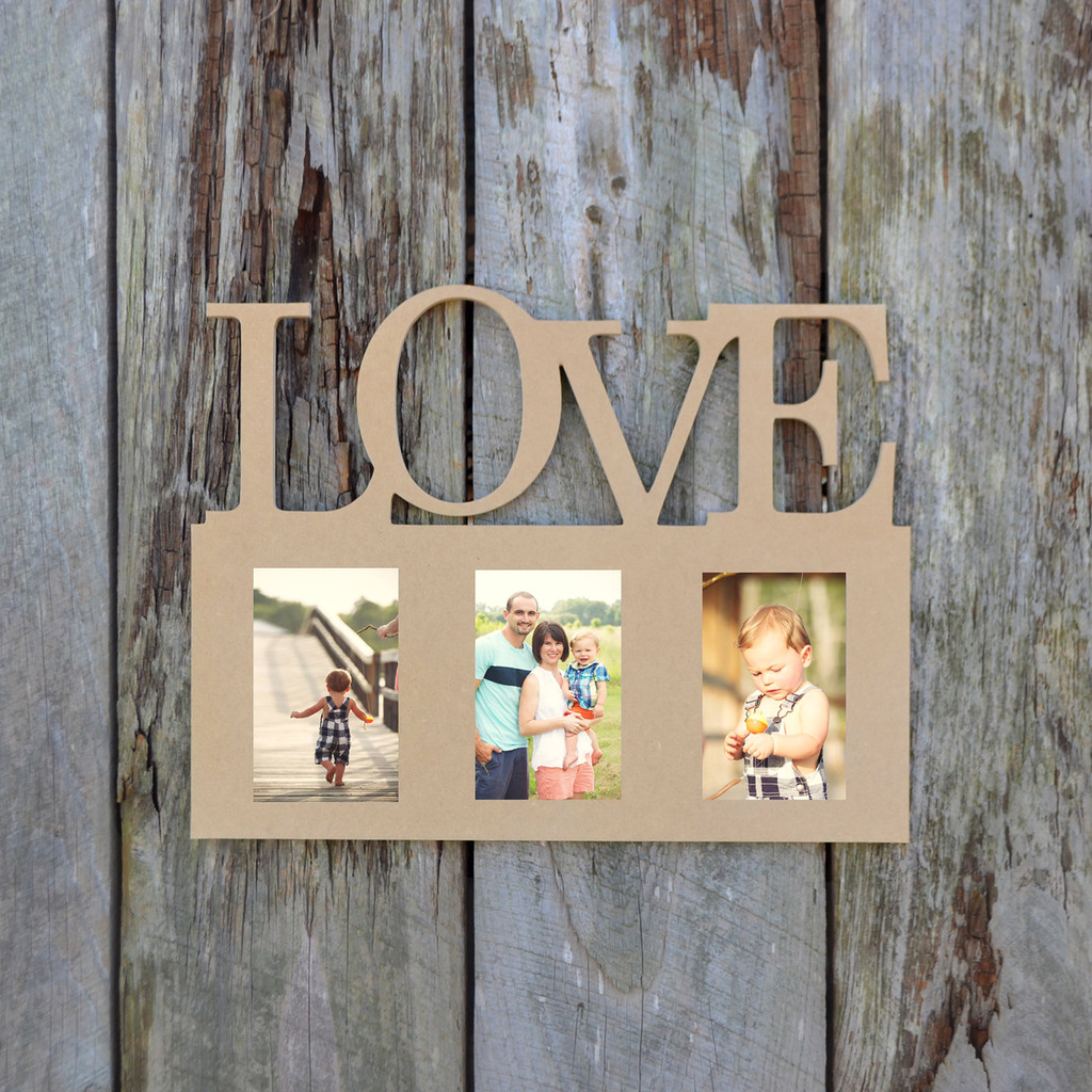 Unfinished picture frames paintable cutout shape family for Unfinished wood frames for crafts