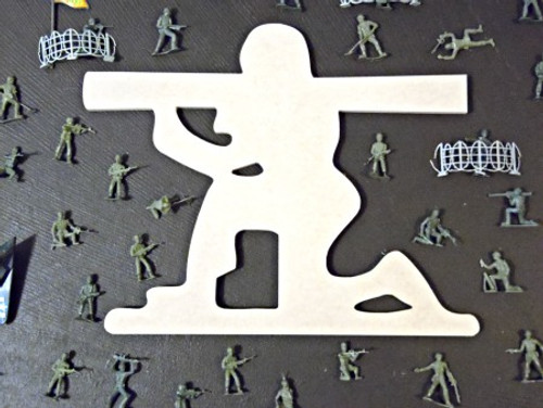 Bazooka Man Unfinished Cutout, Wooden Shape, Paintable MDF  Craft