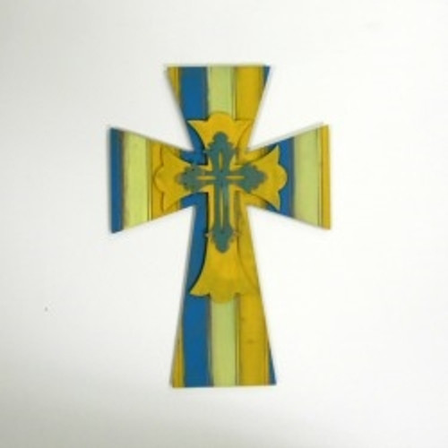 Wooden Unfinished Cross Kit Layered Crosses 16'' Sets Paintable Craft
