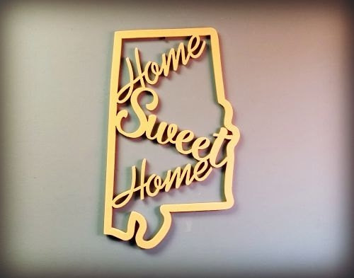 "21"" Framed State Home Sweet Home Wooden Art DIY Craft MDF"