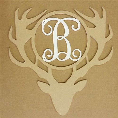 Antler Monogram Whitetail W/ Head Insert Unfinished DIY Craft