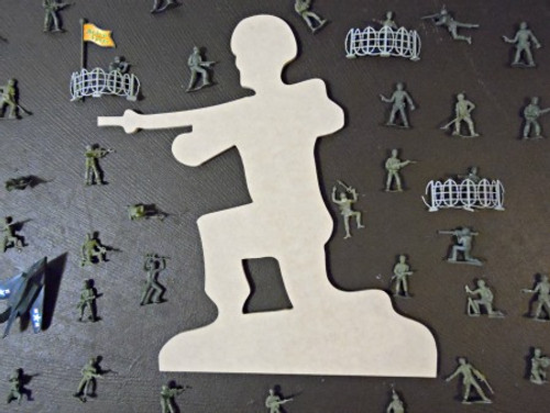 Kneeling Army Man Unfinished Cutout, Wooden Shape, Paintable MDF  Craft