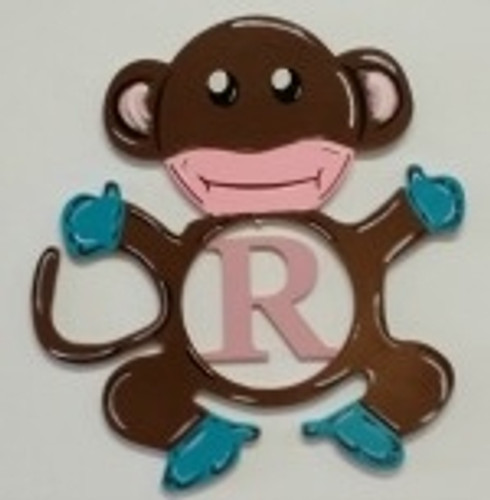 Monkey Frame Letter Insert Wooden Monogram - Unfinished  DIY Craft