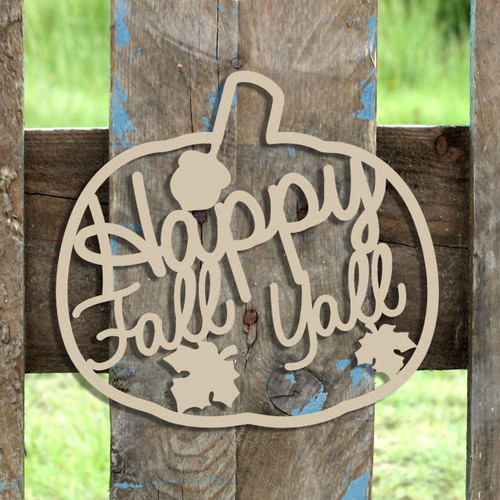 Happy Fall Y'all Word Unfinished Cutout, Wooden Shape, MDF DIY Craft