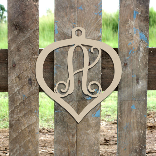 Christmas Ornament Wooden Letter Monogram Unfinished DIY Craft