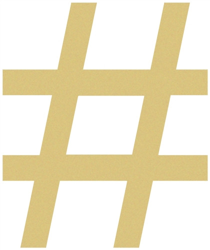 Hashtag Unfinished Cutout, Wooden Shape, Paintable Wooden MDF