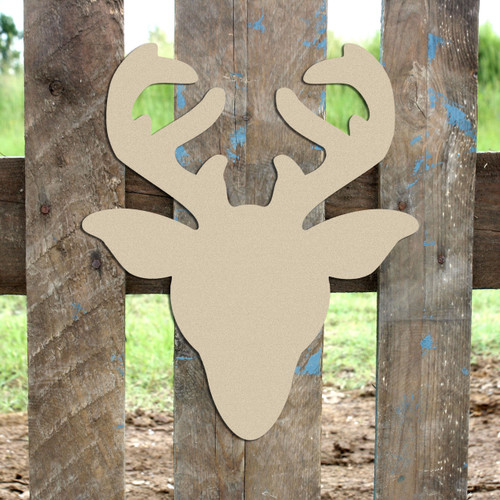 Reindeer head Unfinished Cutout, Wooden Shape, Paintable Wooden MDF