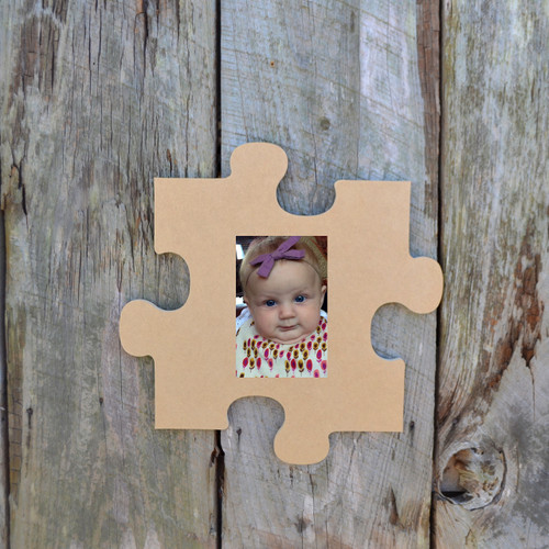 Picture Unfinished Frames Paintable Cutout Shape Puzzle Piece