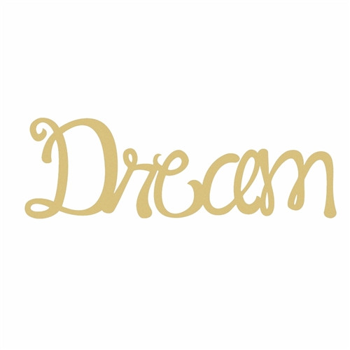 Unfinished Wooden Connected Curly Word, Dream, Paintable Wall DIY Craft